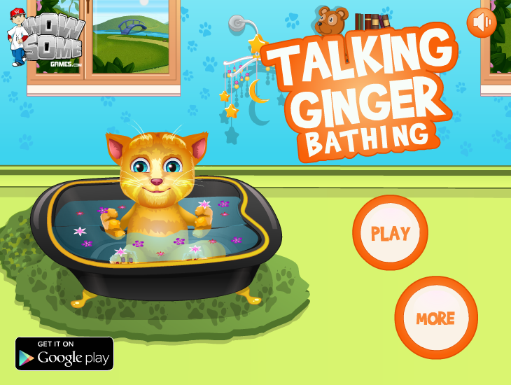 Talking Ginger Bathing
